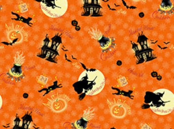 Quilting Treasures 'Witches Brew Haha' Orange 568 Fabric