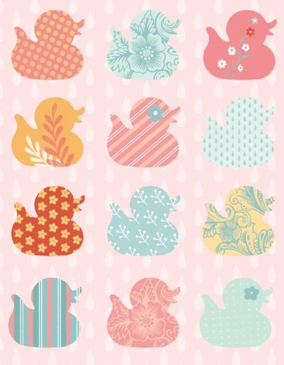 Ducky Tales Fabric Row of Ducks By Studio E