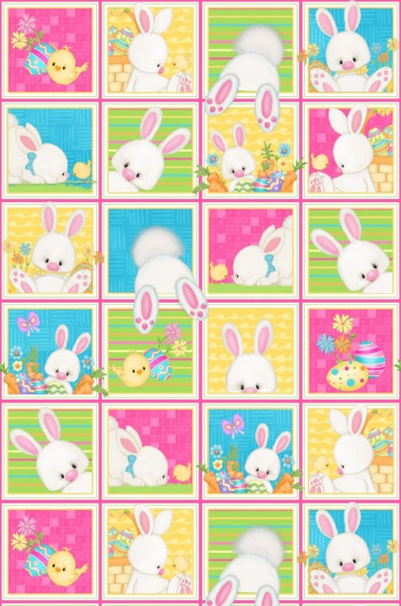 Hop To It Easter Bunny Blocks  Fabric by Henry Glass