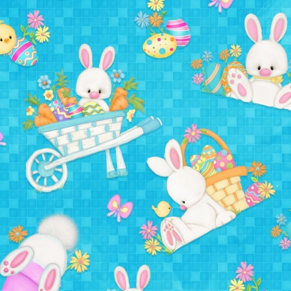 Hop To It Easter Bunnies Fabric by Henry Glass