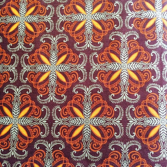 Autumn Splendor Metalic Gold Flower Scroll 8415M Fabric Kanvas