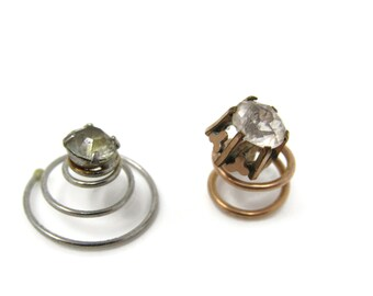 Antique Shirt Studs Vintage Men's Jewelry Clear Jewels Spring Both Different
