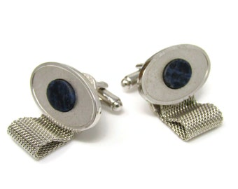 Blue Stones Cuff Links Cufflinks Silver Tone Wrap Design Oval