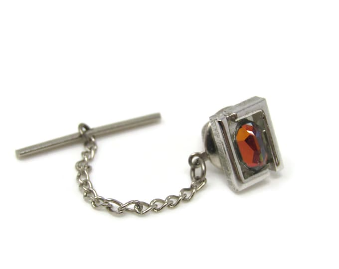 Colorful Jewel Tie Tack Pin Silver Tone Vintage Men's Jewelry