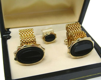 Men's Cufflinks and Tie Tack Pin Set Vintage Black Onyx High Quality Made in USA