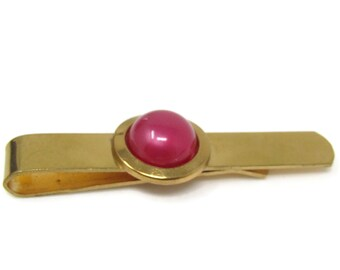 Pink Center Tie Clip Bar Gold Tone Vintage Men's Jewelry Nice Design