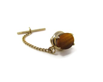 Vintage Tie Tack Tie Pin: Oval Tiger's Eye Gold Tone Setting