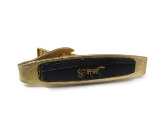 7d38023cc5d4 Vintage Tie Bar Clip: Horse Chariot Design Black Glass Gold Tone Body