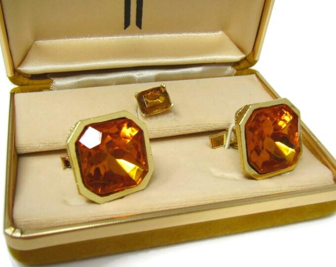 Men's Cufflinks Set w/ Tie Tack Pin Vintage Gorgeous Orange Jewels High Quality