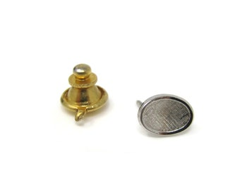 Curved Textured Oval Tie Tack Pin Vintage Men's Jewelry Nice Design