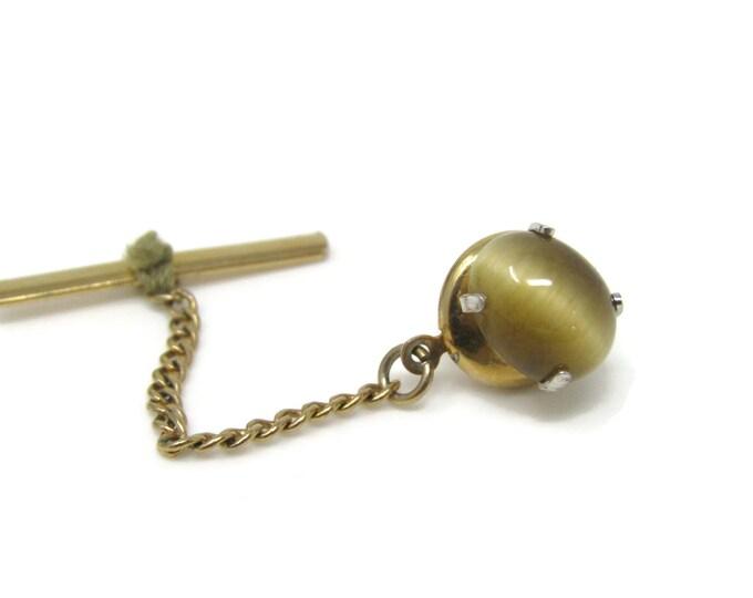 Pretty Opalescent Tie Tack Pin Gold Tone Vintage Men's Jewelry Nice Design