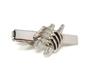 Gears Tie Clip Men's Vintage Tie Bar Silver Tone Excellent Design