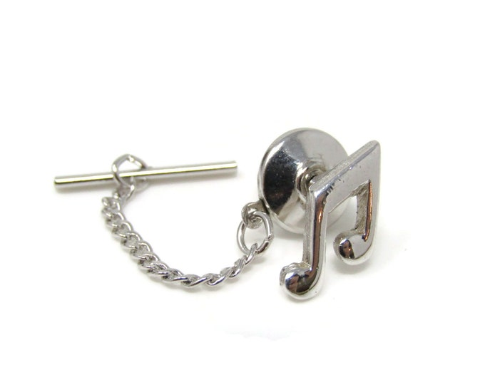Music Notes Tie Tack Pin Silver Tone Vintage Men's Jewelry Musician Gift