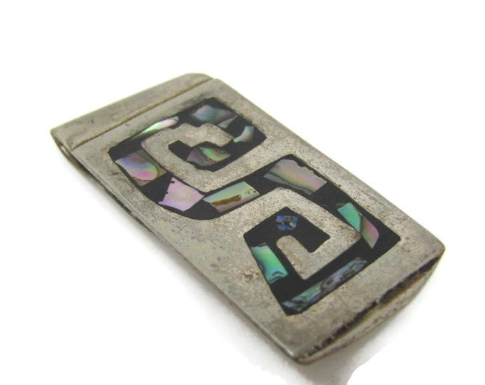 Letter S Initial Money Clip Abalone Inlay Alpaca Silver Vintage