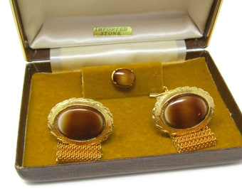 Men's Cufflinks and Tie Tack Pin Set Vintage Imported Stone Brown White Excellent Design High Quality