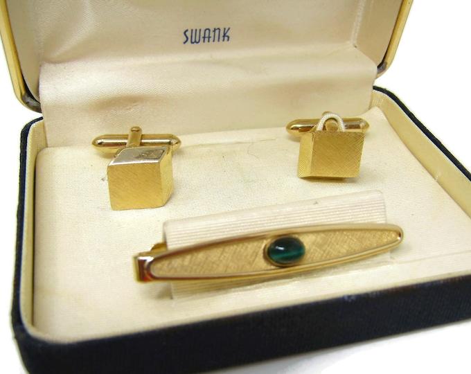Men's Cufflink and Tie Bar Set Vintage Avant Garde Gorgeous Green Stone High Quality