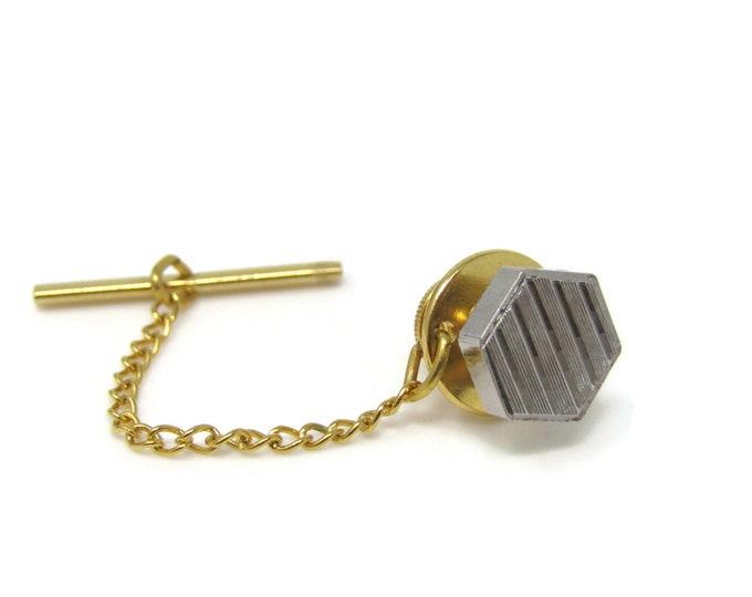 Ridged Hexagon Tie Tack Pin Silver Tone Vintage Men's Jewelry Nice Design