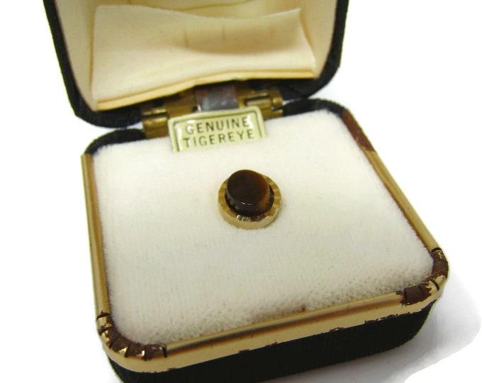 Men's Tie Tack Pin Vintage Genuine Tiger's Eye