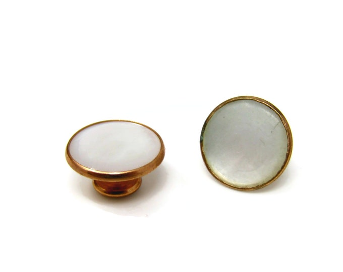 Two Antique Mother of Pearl Shirt Studs Beautiful & High Quality Round Design