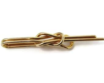 71c0f4d372bb Vintage Tie Bar Clip: Interlocking Knot Design Skinny Body Beautiful Gold  Tone