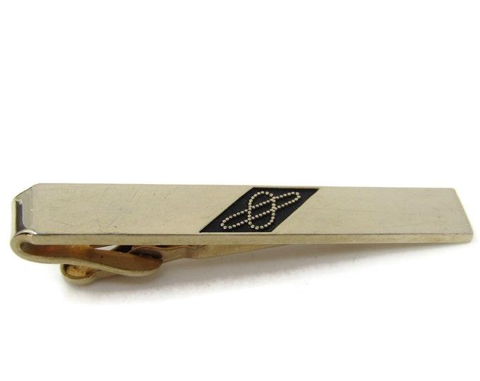 Interlocking Dot Loops Tie Clip Bar Gold Tone Vintage Men's Jewelry Nice Design