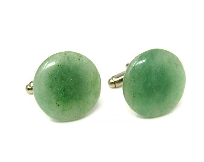 Green Glass Vintage Cufflinks Nice Color Round Design