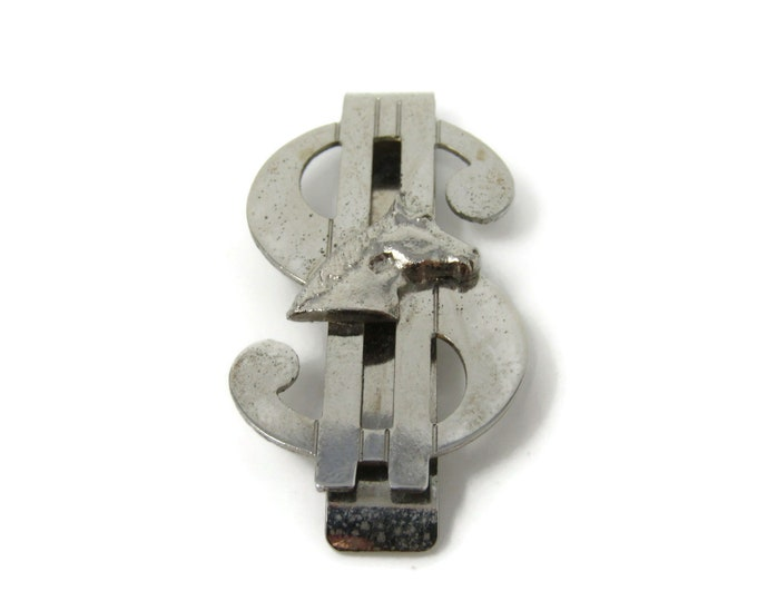 Vintage Dollar Sign Horse Money Clip Silver Tone