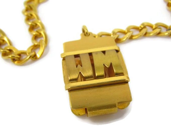 "Vintage Art Deco Watch Chain WM Letters Initials ""WM"" High Quality Excellent Condition"