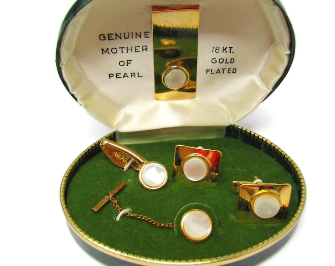 Men's Cufflink and Tie Bar Set Vintage Mother of Pearl Money Clip Included Gold Plated