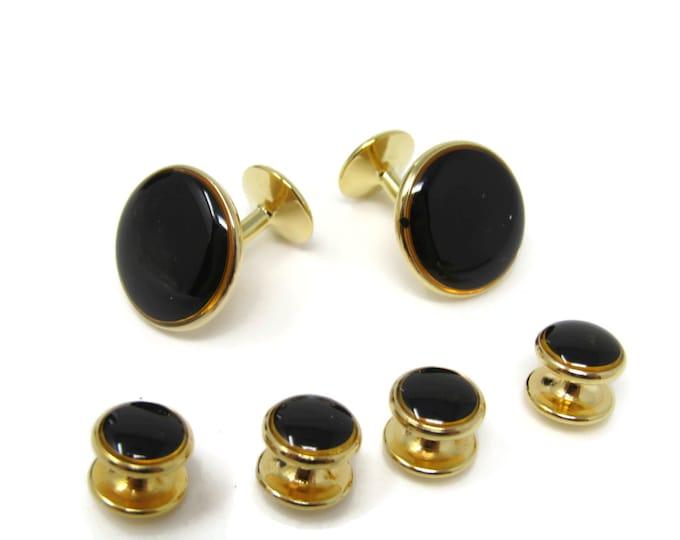Vintage Tuxedo Jewelry Set Black Front Cufflinks 4 Shirt Studs Gold Tone