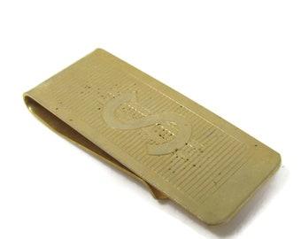 Dollar Sign Etch Money Clip Vintage Ridged Gold Tone Design