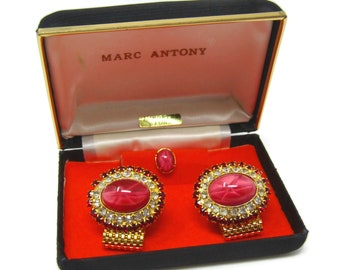 Men's Cufflinks and Tie Tack Pin Set Vintage Stunning Pink, Red & Clear Jewels High Quality Beautiful