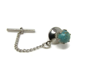 Turquoise Ball Tie Tack Pin Vintage Men's Jewelry Nice Design