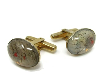 Vintage Gold Tone Cufflinks with Gorgeous Champagne Diamond Coloured Sparkly Stone Vintage Cufflinks Vintage Sparkle Cufflinks