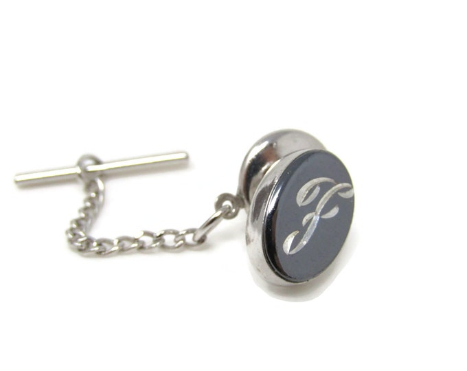 Letter F Initial Tie Tack Pin Silver Tone Vintage Men's Jewelry