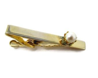 Vintage Tie Clip Tie Bar: Faux Pearl Gold Tone