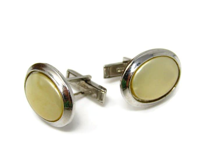 White Oval Cuff Links Cufflinks for Men Nice Design