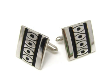 Black & Silver Tone Cuff Links Cufflinks for Men Nice Design