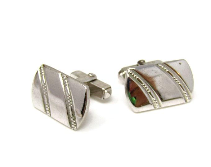 Silver Striped Cufflinks for Men Vintage Nice Design