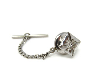 Flower Square Tie Tack Pin Silver Tone Vintage Men's Jewelry Nice Design