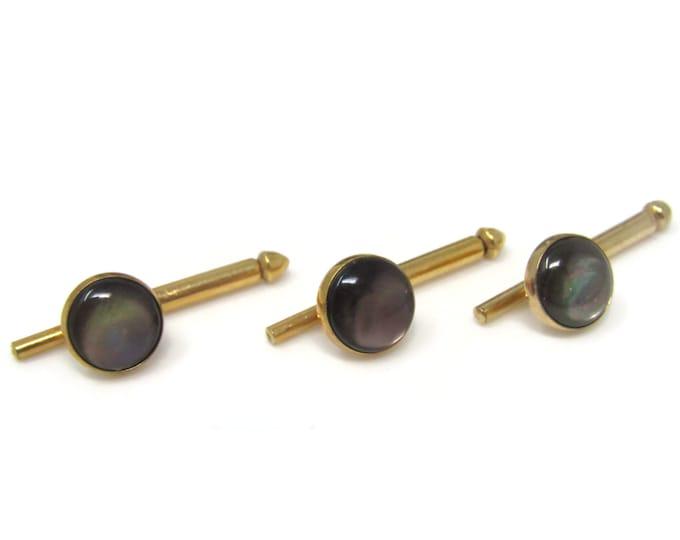 Dark Mother of Pearl Shirt Stud Buttons Spring Design Vintage Gold Tone