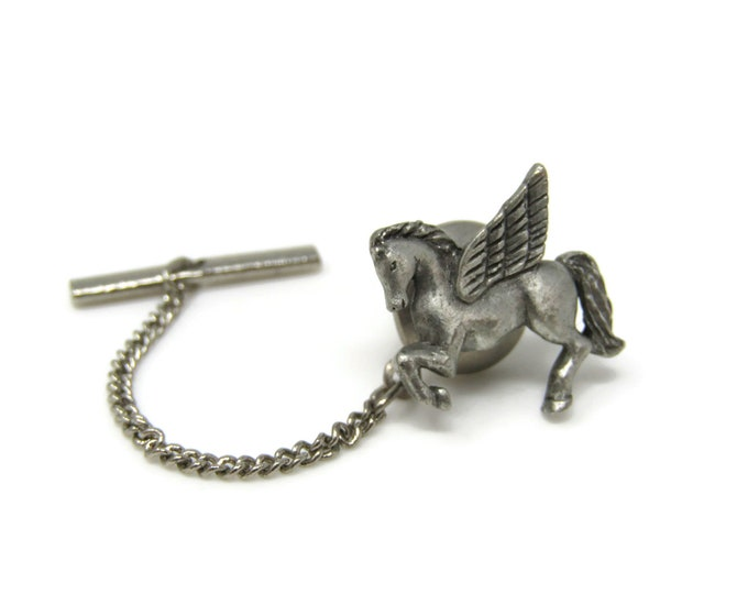 Pegasus Flying Horse Tie Tack Pin Silver Tone Vintage Men's Jewelry Nice Design