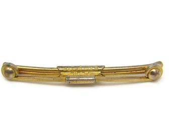 Vintage Tie Collar Clip Bar Curl Ball Ends Gold Tone Vintage Men's Jewelry Nice Design