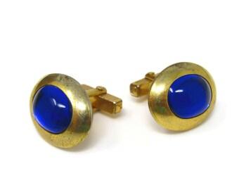 Blue Center Cuff Links Cufflinks for Men Vintage Translucent Gold Tone Design