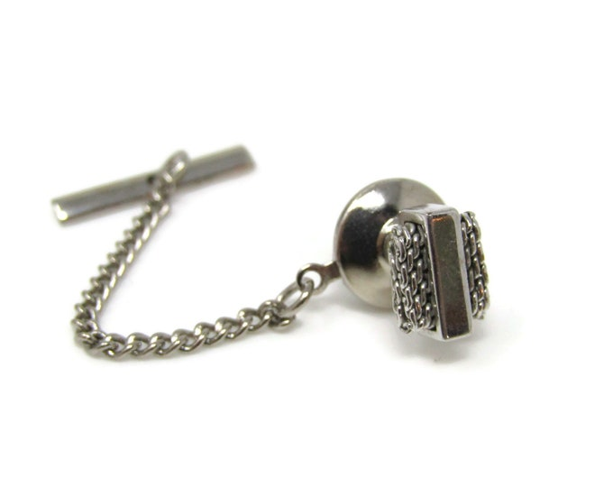 Chain Mesh Sides Modernist Tie Tack Pin Silver Tone Vintage Men's Jewelry Nice Design
