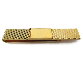 Vintage Tie Clip Tie Bar: Stunning Gold Tone Diagonal Grooves High Quality