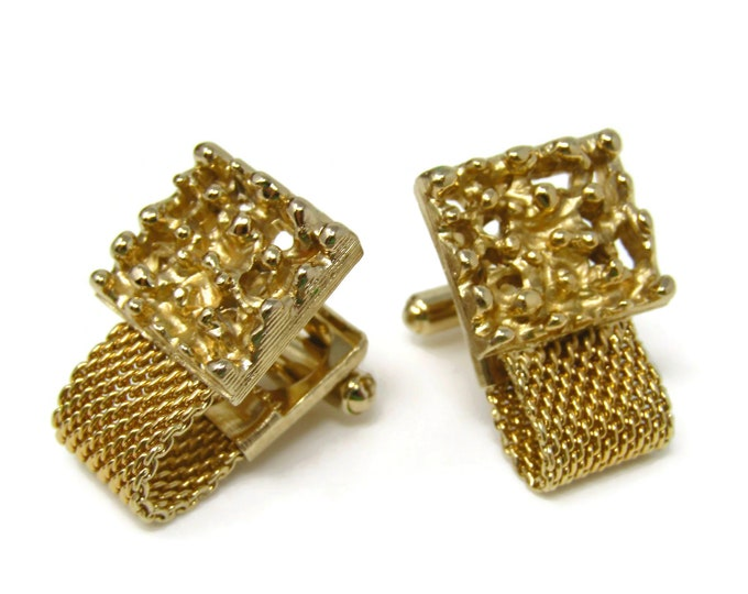 Modernist Cuff Links Cufflinks Gold Tone Wrap Design Bumpy Interesting Art Look