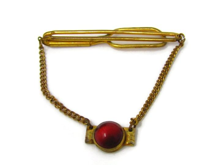 Red Accent Chain Art Deco Tie Clip Men's Vintage Tie Bar Gold Tone