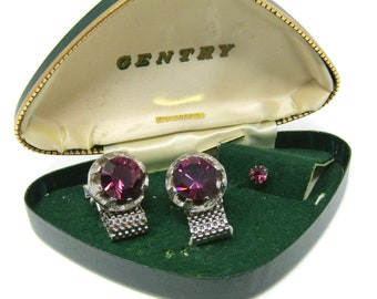 Men's Cufflinks and Tie Tack Pin Set Vintage Purple Imported Stones High Quality Beautiful