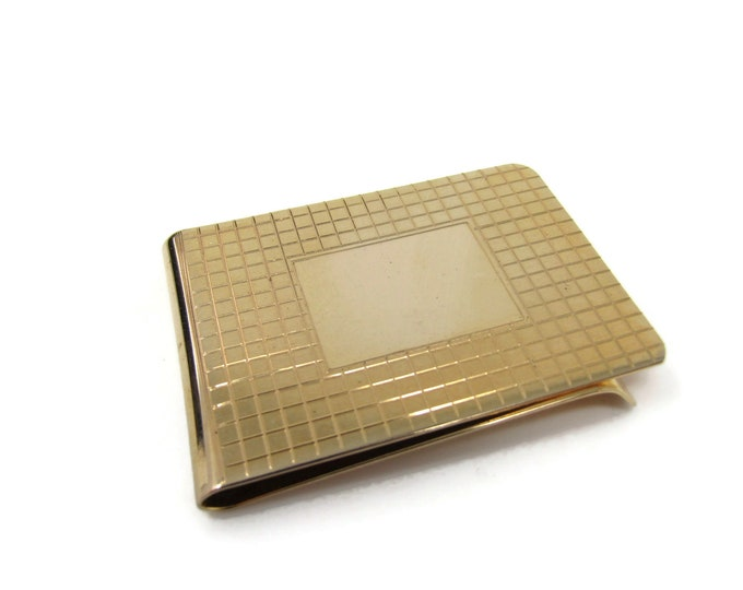 Retro Waffle Texture Money Clip Vintage Excellent Square Design